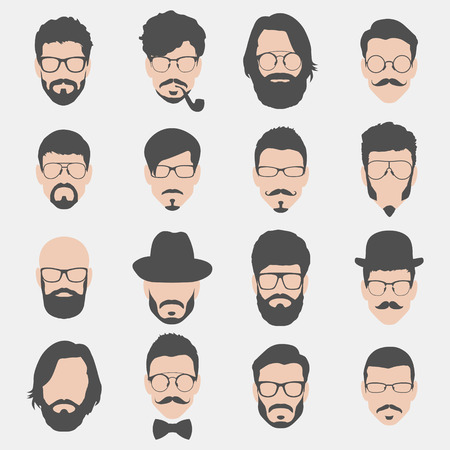 set of hipster avatars for social media or web site. man face icons. vector illustration Ilustracja