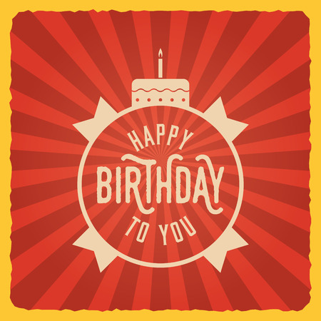 Happy Birthday Vintage Card Vector Illustration Royalty Free