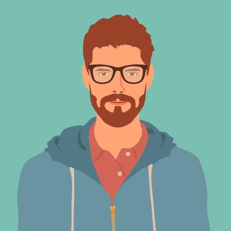 bigote: carácter inconformista plana. chico joven con estilo con gafas. avatar icono. ilustración vectorial hombre. eps10 Vectores