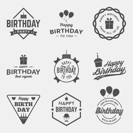 happy birthday vintage labels set. vector illustration Vettoriali