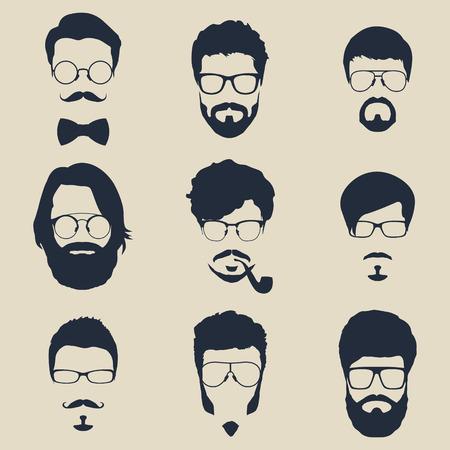 visage: ensemble de hippie avatars pour les médias sociaux ou site web. silhouettes homme de visage. icônes vectorielles