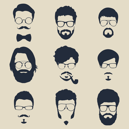 man face profile: set of hipster avatars for social media or web site. man face silhouettes. vector icons