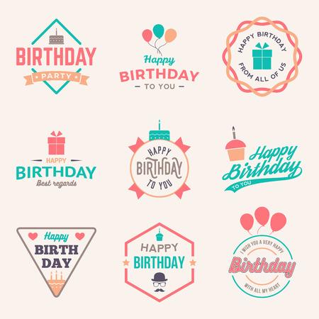 happy birthday vintage labels set. vector illustration Vectores