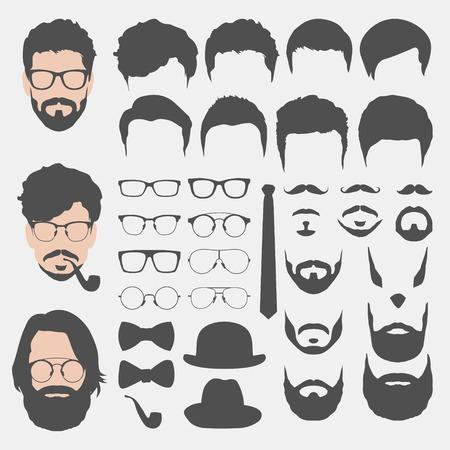 hombre con sombrero: diferentes cortes de pelo estilo inconformista, gafas, barba, bigote, pajarita y recogida sombreros. hombre se enfrenta creador avatar. crear sus propios iconos inconformista de medios de comunicación social o sitio web