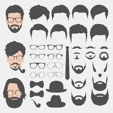 different hipster style haircuts, glasses, beard, mustache, bowtie and hats collection. man faces avatar creator. create your own hipster icons for social media or web site