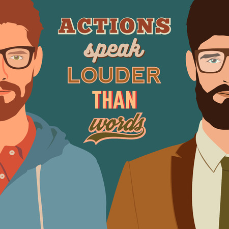 retro typographic poster design with flat hipster characters and motivational quote. actions speak louder than words. stylish young guys with glasses background. vector illustration