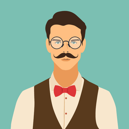 flat hipster character. stylish young guy with glasses. avatar icon. man vector illustration. eps10