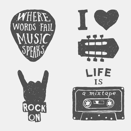 set of music hand drawn typography posters, emblems and quotes. artworks for wear. vector inspirational illustration