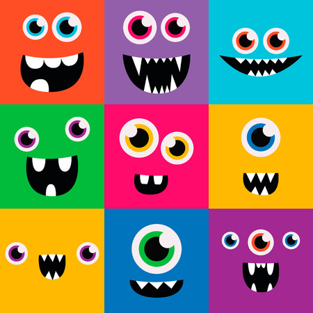 face: cartoon monster faces vector set. cute square avatars and icons