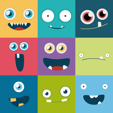 volti: monster cartoon facce insieme vettoriale. simpatici avatar quadrati e icone