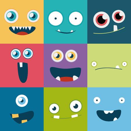 caras: monstruo de dibujos animados se enfrenta conjunto de vectores. avatares e iconos cuadrados lindos