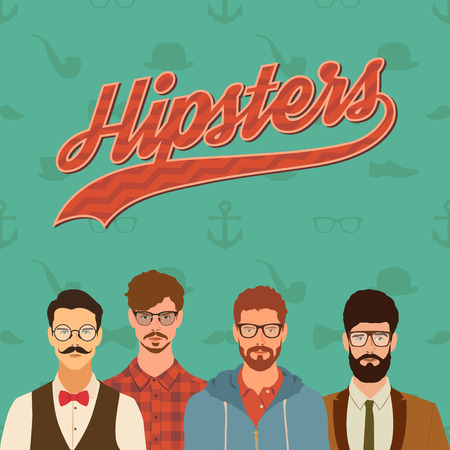 flat hipster characters. stylish young guys with glasses background. vector illustration. eps10
