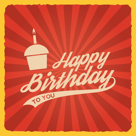 happy birthday text: happy birthday vintage card. vector illustration