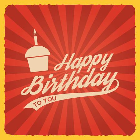 Tarjeta de feliz cumpleaños vintage. ilustración vectorial Foto de archivo - 42584433