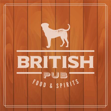 irish pub label design: british pub label on wooden background