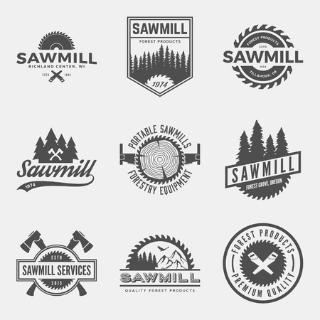 saws: vector set of sawmill labels, badges and design elements