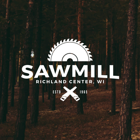 woodsman: sawmill label on forest background