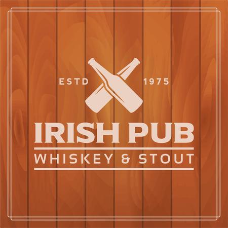 irish pub label: irish pub label on wooden background