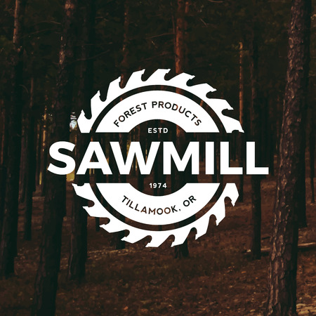 saws: sawmill label on forest background