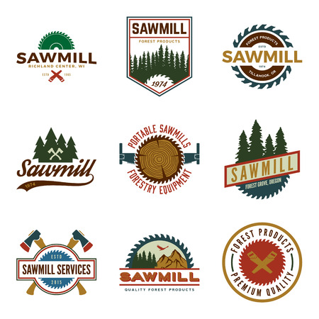 vector set of sawmill labels, badges and design elements Imagens - 42584444