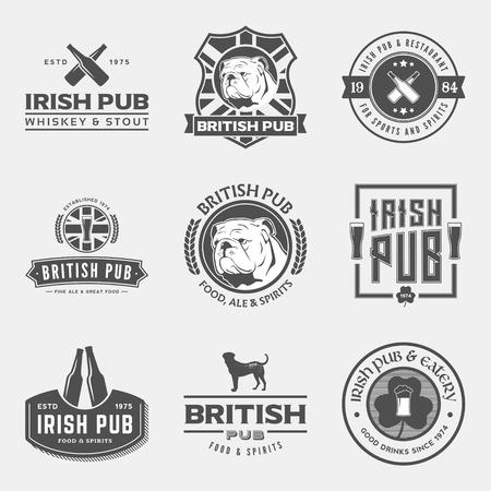 irish pub: vector set of irish and british pub labels, badges and design elements Illustration