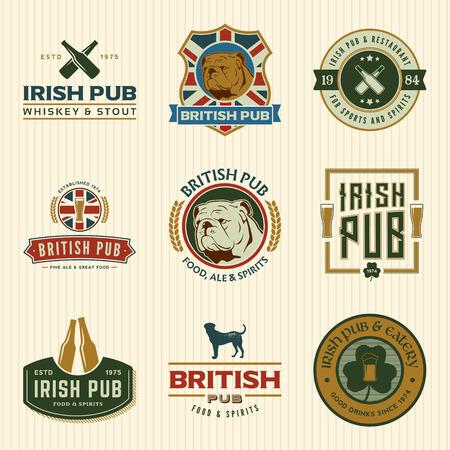 vector set of irish and british pub labels, badges and design elements  イラスト・ベクター素材