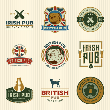 vector set of irish and british pub labels, badges and design elements Vectores