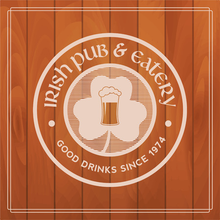 irish beer label: irish pub label on wooden background