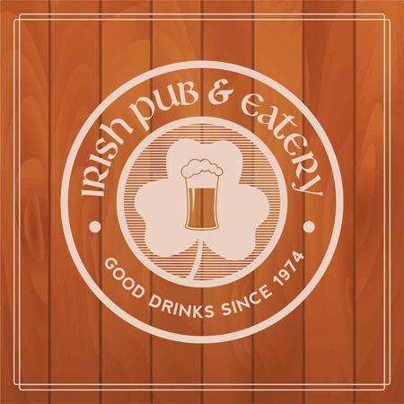 irish pub label design: irish pub label on wooden background