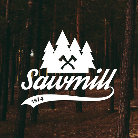 sawmill: sawmill label on forest background