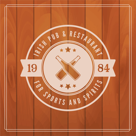 irish pub: irish pub label on wooden background