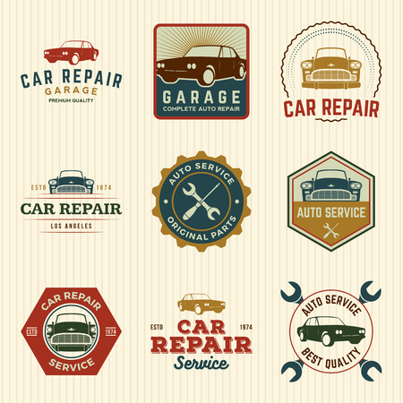 old cars: vector set of car repair service labels, badges and design elements Illustration