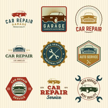 automotive industry: vector set of car repair service labels, badges and design elements Illustration