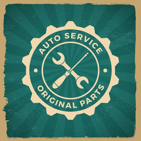 car repair service label on grunge background. vector eps10 illustration