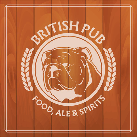 irish pub label: british pub label on wooden background