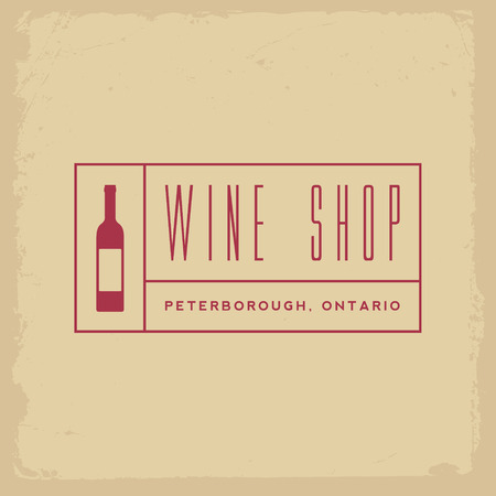 store sign: wine shop label on yellow grunge background