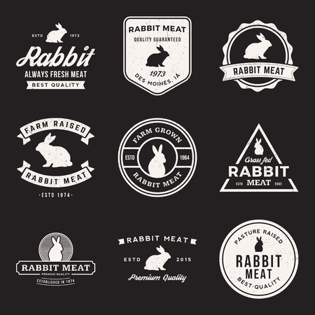 vector set of premium rabbit meat labels, badges and design elements with grunge textures 向量圖像