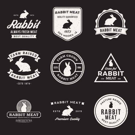 vector set van premium konijnenvlees labels, badges en design-elementen met grunge textures Stock Illustratie