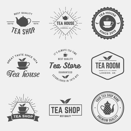taza de te: vector conjunto de etiquetas de tiendas de t�, escudos y elementos de dise�o