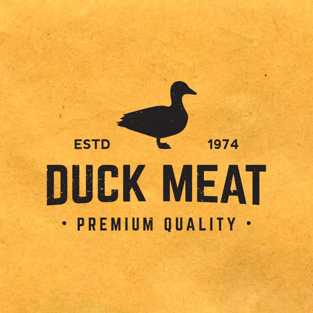 premium duck meat label with grunge texture on old paper background