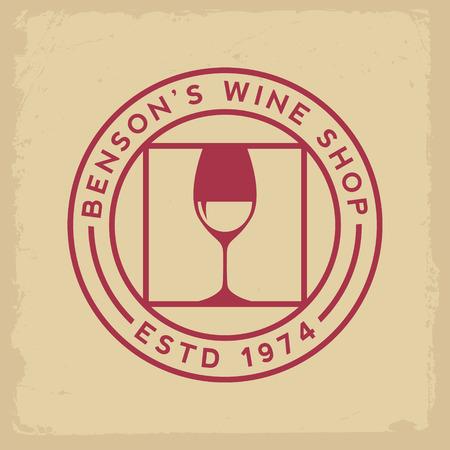 corcho: etiqueta de tienda de vinos en el fondo amarillo del grunge Vectores