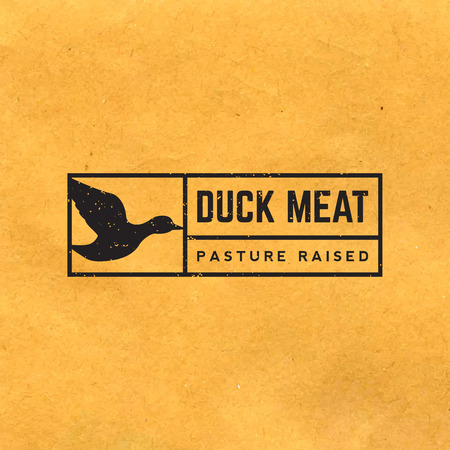 duck meat: premium duck meat label with grunge texture on old paper background