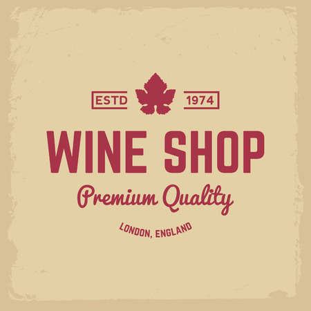 wine shop label on yellow grunge background