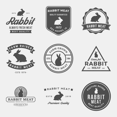 old farm: vector set of premium rabbit meat labels, badges and design elements