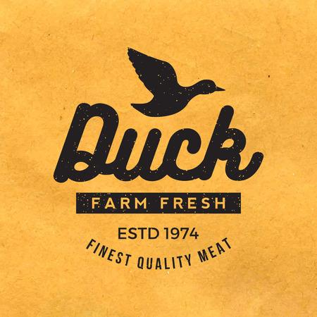 pato: etiqueta premium carne de pato con la textura del grunge en el fondo de papel viejo