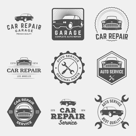 manos logo: vector conjunto de etiquetas de servicio de reparación de automóviles, escudos y elementos de diseño Vectores