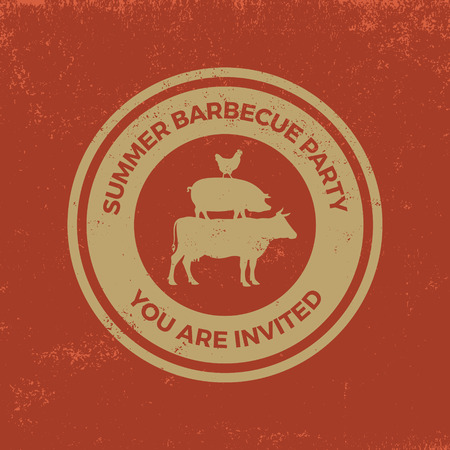 barbecue badge on red  grunge background Ilustrace