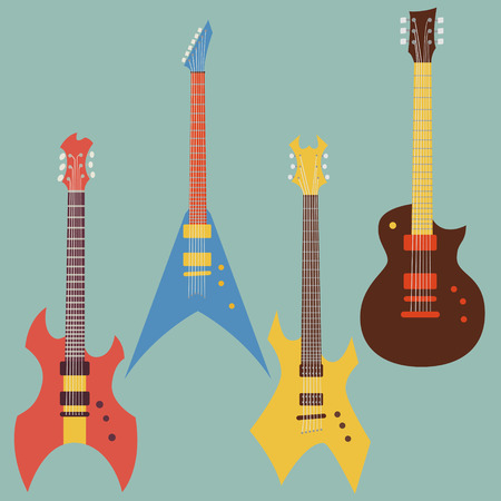 electric guitars: electric guitars set. flat style vector illustration Illustration