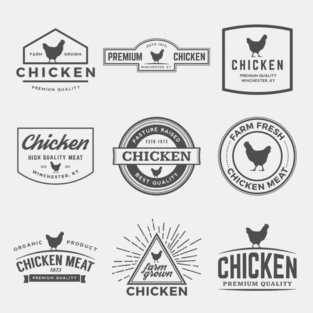 プレミアム チキン肉ラベル、バッジおよびデザイン要素のベクトルを設定  イラスト・ベクター素材