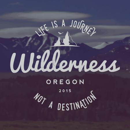 wilderness: vector wilderness emblem. outdoor activity symbol with grunge texture on mountain landscape background